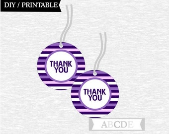 Instant Download Purple Thank You tags Nautical Birthday party Baby shower DIY Printable (PDNM001)