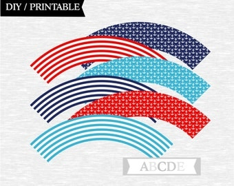 Instant Download Navy, Red, Blue Cupcake wrappers Nautical baby shower birthday party DIY Printable (PDN011)