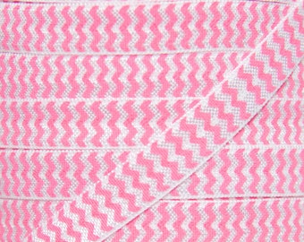 SALE!!!  Hot Pink Chevron 3/8 inch Fold Over Elastic - Elastic For Baby Headbands and Hair Ties - 5 Yards of 3/8 inch FOE
