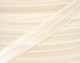 Ivory Fold Over Elastic - Elastic For Baby Headbands and Hair Ties - 10 Yards of 5/8 inch FOE