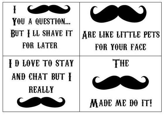 Items Similar To Funny Mustache Printout On Etsy