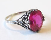 Delicate Ruby Leaf Filigree Ring Sterling Silver Size 6 Antique Victorian Style