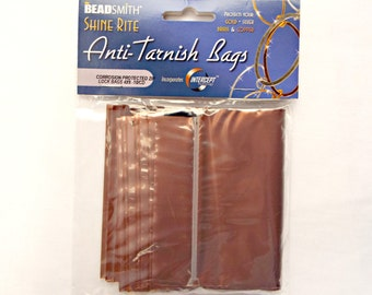 4 x 6in Anti Tarnish Bags, Pack of 10, Jewelry Protection for Fine Metals. Corrosion Protection Zip Lock Bag, BeadSmith Shine Rite UK Seller