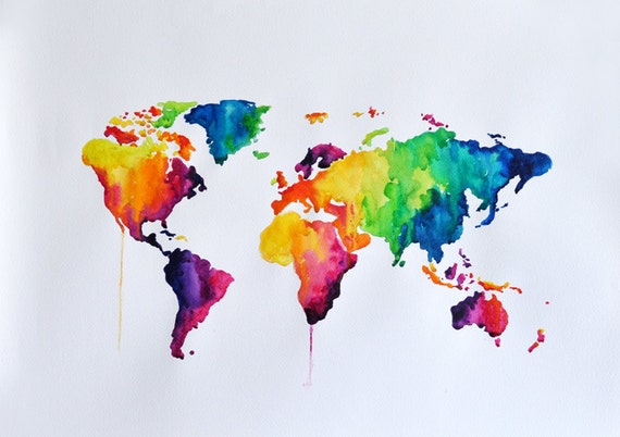 ORIGINAL Abstract World Map Watercolor Painting, Large Rainbow Colored Decorative Painting 20x28 Inch