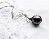 purple violet bubbles sphere ceramic, ball glass pendant, sphere,  bohemian pendant necklace