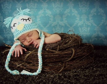 Crocheted Sleeping Owl Hat