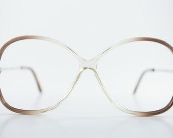 Vintage 80s Glasses | Clear Grey Round Eyeglass Frame | 1980s NOS Eyeglasses - July Grey