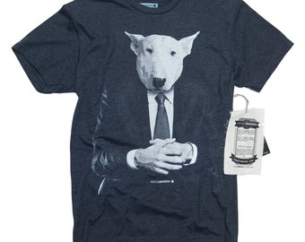 Bull Terrier Shirt. Men's Bull Terrier Office Dog shirt. Dog in a Suit Men's Shirt in Sizes Small to XXXL