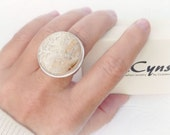 RESERVED - Organic Chic Fossil Coral Ring - Sterling Silver Artisan Statement Ring - One of a Kind 7.5-7.75