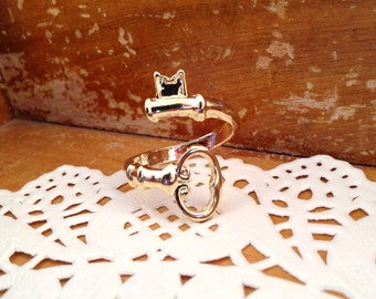 Skeleton Key Wrap Around Ring Rose Gold Vintage Style Adjustable