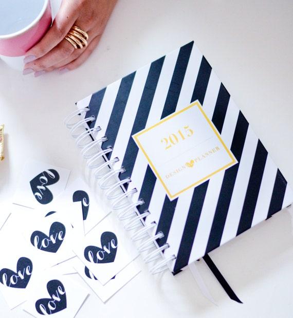 Diseño planificador de amor   Día planificador, Agenda, hoja de oro, revista, artículos de papel, blanco y negro