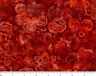 Choice Fabrics - Majestic Floral - Red - Cotton Woven Fabric
