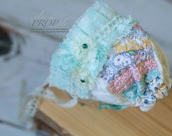Newborn Girl BONNET  - Vintage Bonnet with Turquoise Accent - Newborn Photography Prop