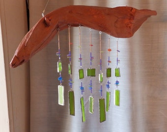 Stained Glass Driftwood Windchime