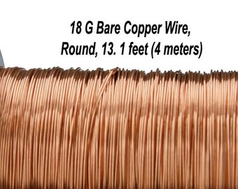 18 Gauge, Bare Copper Wire, Round, 13.1 feet (4 meters), Made in UK