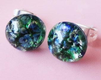 Blue/Green Opal Round Glass 9mm Post Earring
