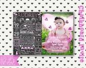 Birthday Invitation - One Year - First Birthday Chalkboard Invitation - Custom Baby's 1st Birthday Invitation - 2nd 3rd 4th 5th 6th birthday