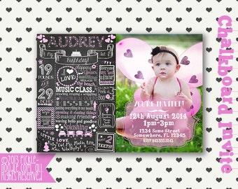 One year invitation etsy birthday invitation one year first birthday chalkboard invitation custom babys 1st birthday invitation stopboris Gallery