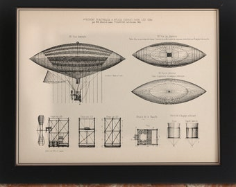 Airship Technical Illustration Art Print | Poster Zeppelin Patent Diagrams Schematic Engineering Physics Science Dirigible Hot Air Balloon