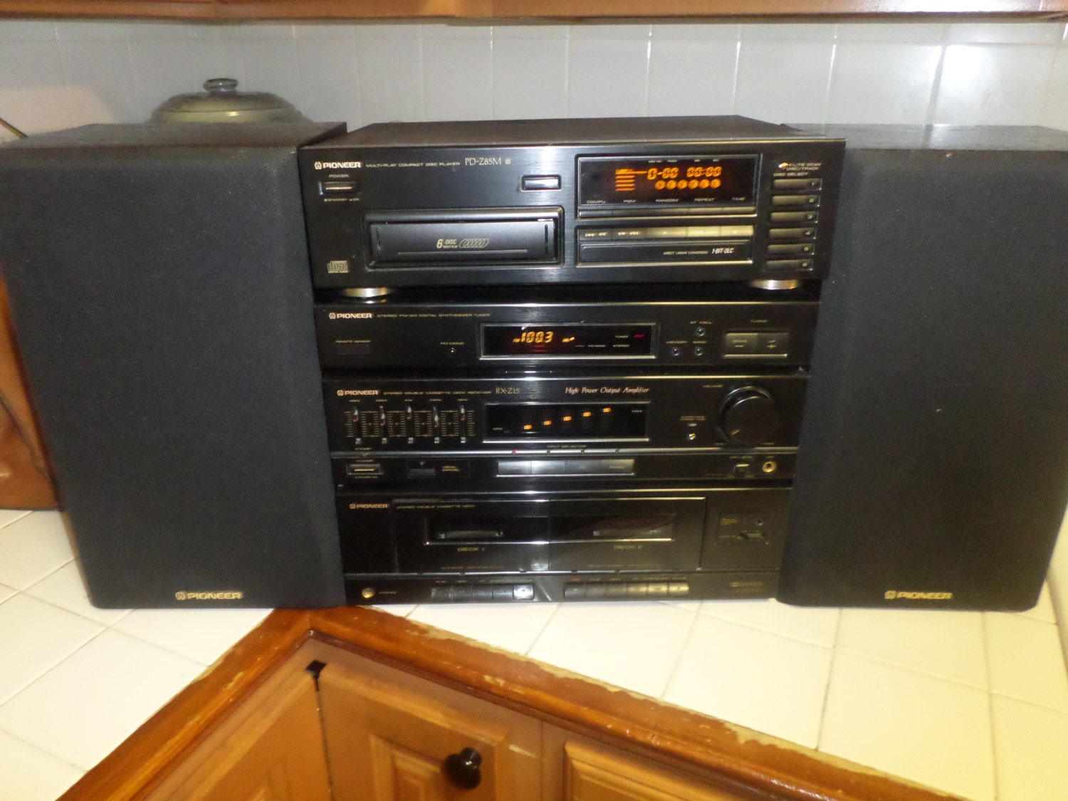 Vintage 1992 Pioneer Rxz15 Home Stereo System With Speakers
