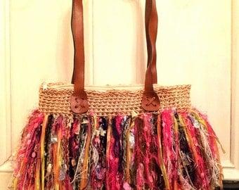 Shag Bag Large shoulder strap bag- pinks