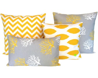 1 pillowcase Ikat pattern linen look CHIPPER 40 x 40 cm yellow white