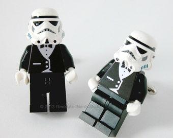 Groomsmen Gift - Weeding Cufflinks - Star Wars Stormtrooper with Black Tuxedo Figure Silver Cufflinks - LEGO Cuffliks - Mens Cufflinks