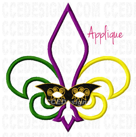 Fleur di lis mardi gras applique machine embroidery by ccedesigns - Applique di design ...