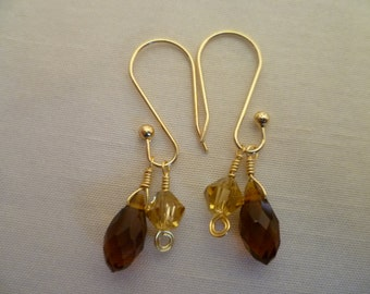 Amber Briolette and Citrine Glass Wire Wrapped Dangles