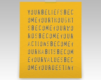 Edgy modern graphic punk pop art typography quote, inspirational words for dorm or home decor, wall art print available in various colors