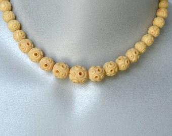 Carved Celluloid Necklace Vintage