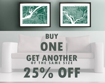 Buy One, Get One of the Same Size for 25% Off - BOGO Discount - Any Style, Any Size Print - Map Art Prints Gallery Wall