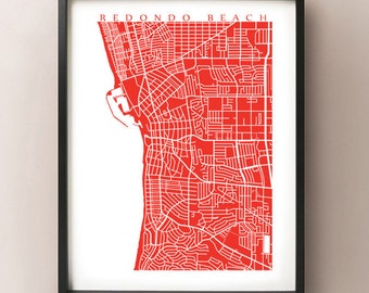 Redondo Beach Map Print - California Art Poster