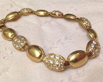 Estate European Handmade 14k Gold Bracelet with Created Diamonds- Gorgeous!