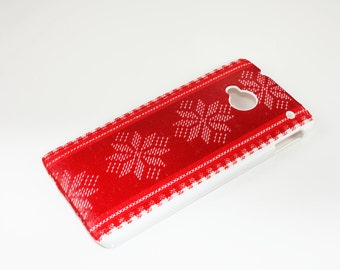 SALE  HTC One M7 Hard Case Skin Cover Nordic Christmas Red