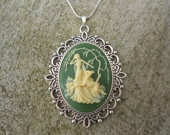 """Stunning Goddess Diana with Deer Cameo Pendant Necklace---Green .925 plated 22"""" Chain--- Great Quality"""