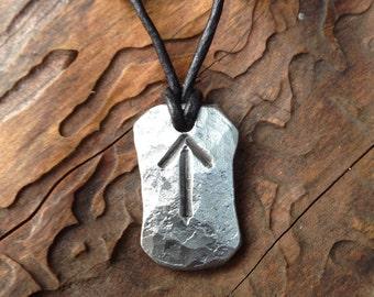 Hand Forged Viking Rune Amulet - Tiwaz