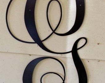 """22 inch Black Script Metal Letter """"G"""" Door or Wall Hanging"""