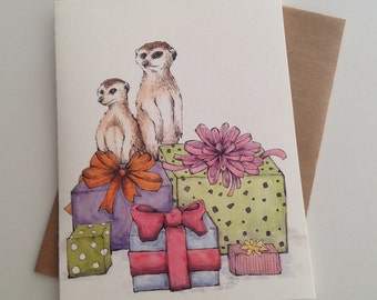 Party Meerkats Card. Happy Birthday Celebration Card