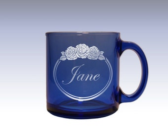 Personalized Blue Glass Tea Cup and Coffee Mug Engraved with Monogram Design Options and Font Selection (Each - 13 oz)