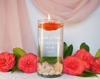 Unity Candle Personalized Ceremony Vase with Couples Monogram Design Options, Custom Design Choices, & Optional Candle