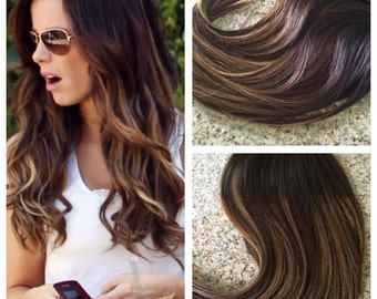 5 Star Ombre Balayage Cuticle Remy Human Hair Sew in Machine Weft Hair Extensions 1 bundle