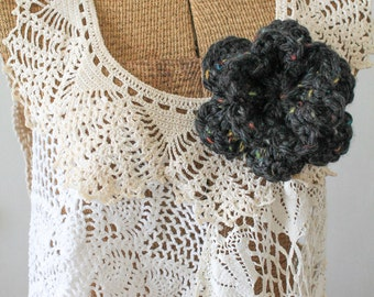 Chunky Double Layer 6 Petal Crochet Flower Brooch, Crochet Accessory, Shawl Pin, Crochet Pin, Black, Multicolored, Confetti