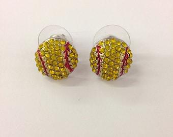 Rhinestone softball  stud earrings  / gift for sports mom / spots team / gift for her/softball mom /fashion earring