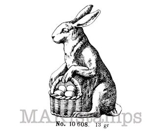 Easter stamp / Easter bunny with egg basket / Unmounted rubber stamp (130706)