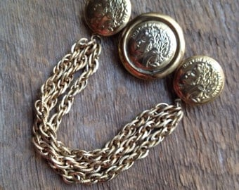 Vintage Republique Francaise Coins With Chain Swag Brooch Pin