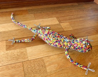African Beaded Wire Animal Sculpture - CHAMELEON - Multicolored