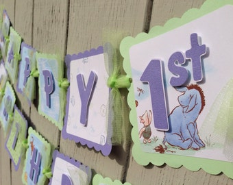 Winnie the Pooh Birthday Banner Classic lavender green birthday banner party decorations