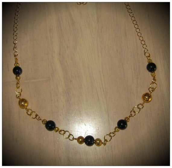 Handmade Long Gold Necklace with Blue Goldstones by IreneDesign2011