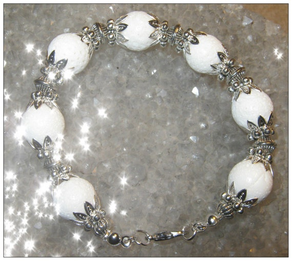 Handmade Silver Bracelet with White Bubble Coral by IreneDesign2011